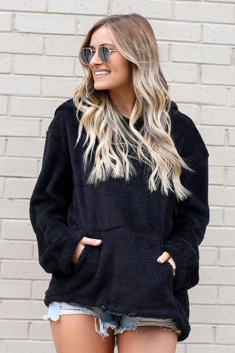 Black - Dress Up model wearing the Fuzzy Knit Pullover Hoodie