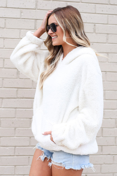 Fuzzy Knit Pullover Hoodie in Ivory Side View