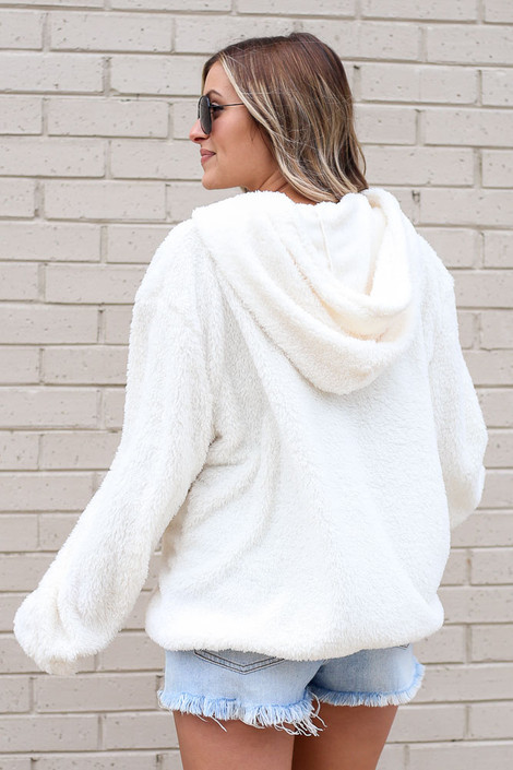 Fuzzy Knit Pullover Hoodie in Ivory Back View