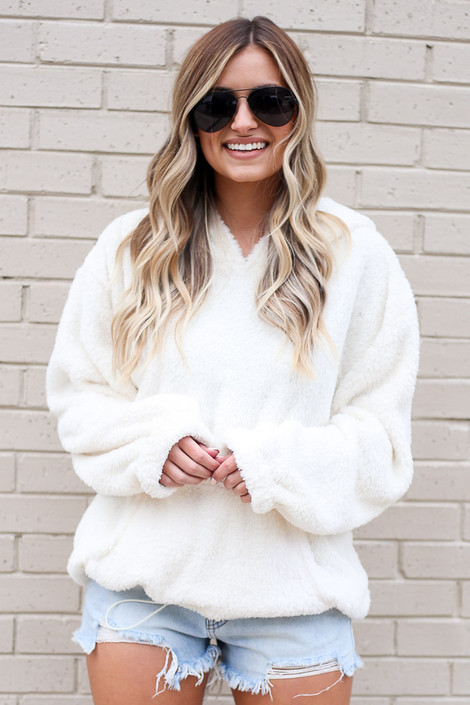 Fuzzy Knit Pullover Hoodie in Ivory Front View