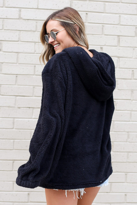 Fuzzy Knit Pullover Hoodie in Black Back View