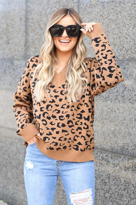 Camel - V Neck Leopard Luxe Knit Top