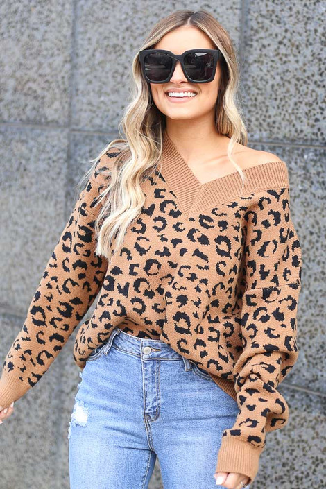 Camel - V Neck Leopard Luxe Knit Top from Dress Up Boutique