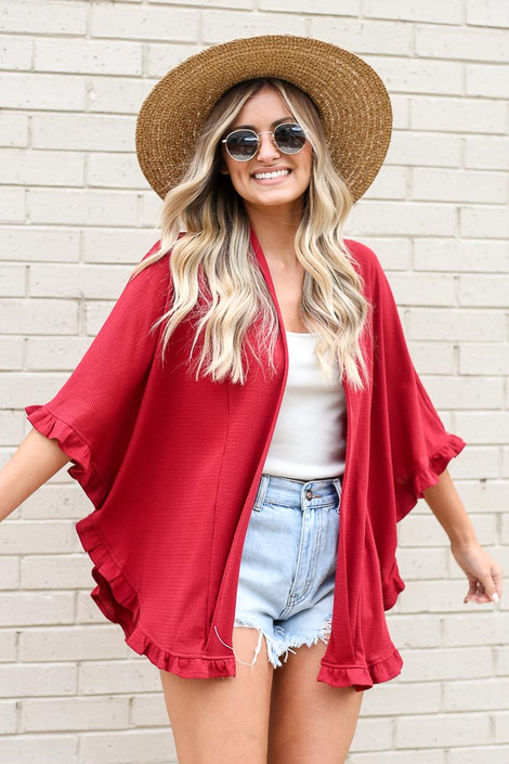 Burgundy - Ruffle Trimmed Lightweight Knit Cardigan from Dress Up