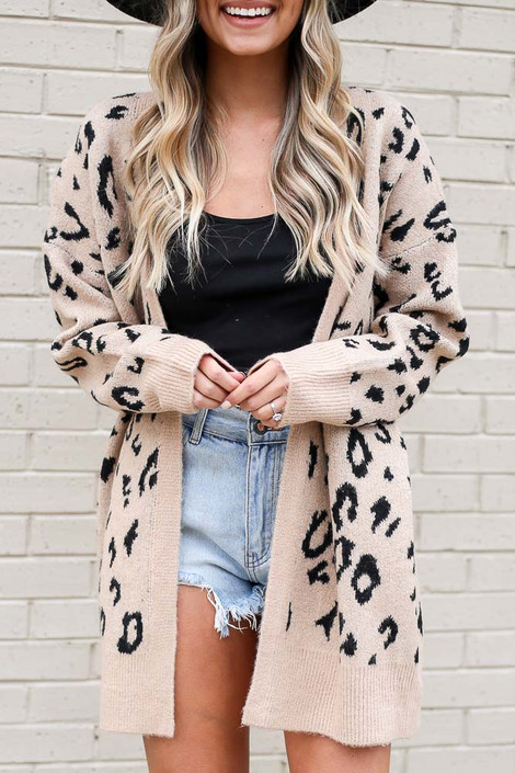 Taupe - Leopard Print Luxe Knit Cardigan from Dress Up