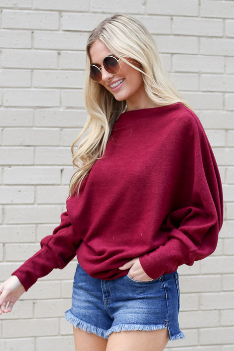Burgundy - Lightweight Fleece Dolman Sleeve Tunic