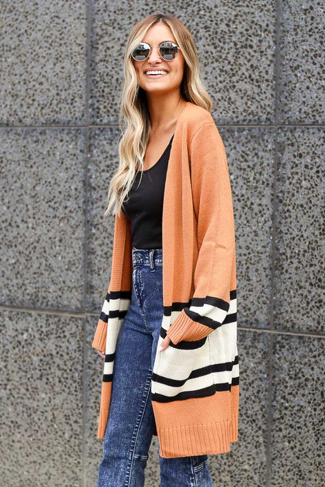Rust - Striped Longline Cardigan