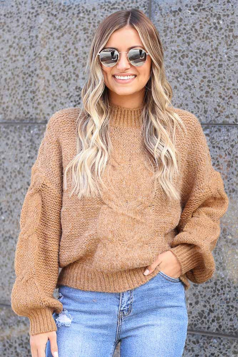 Taupe - Mock Neck Cable Knit Top