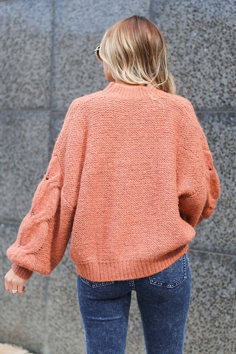 Model wearing the Mock Neck Cable Knit Top in Rust Back View