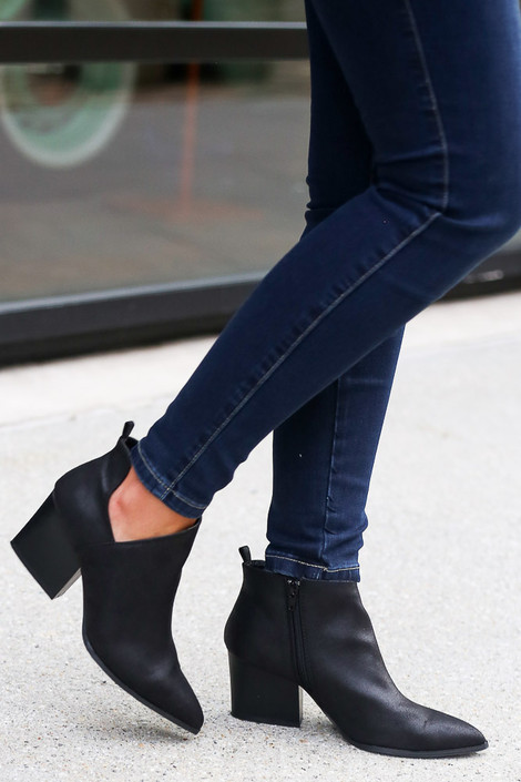 Black - Side Paneled Block Heel Booties Side View