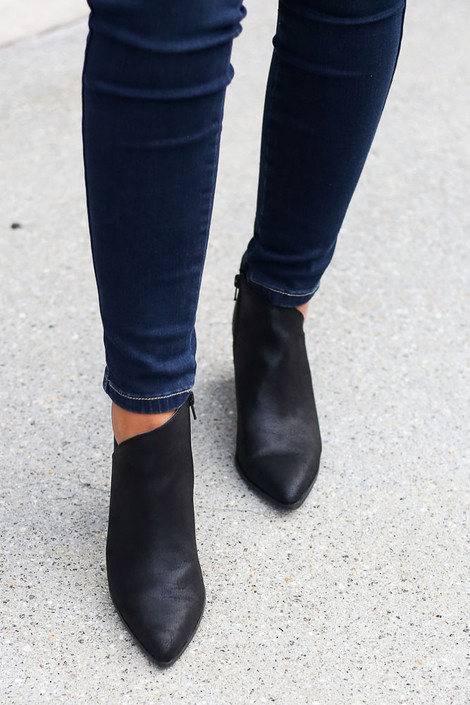 Black - Side Paneled Block Heel Booties Front View