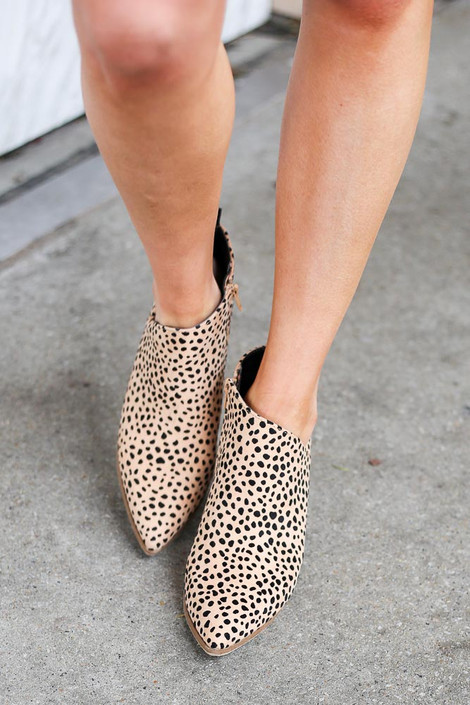 Side Paneled Block Heel Booties in Leopard Front View