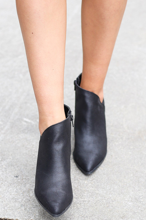 Side Paneled Block Heel Booties in Black Front View