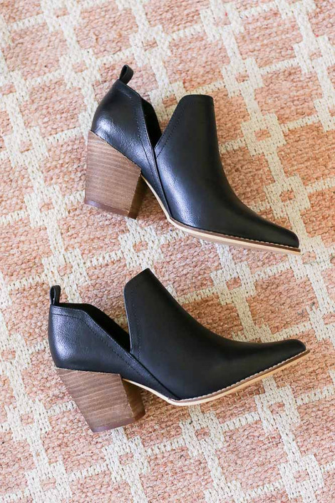 Black - V-Cut Faux Leather Ankle Booties
