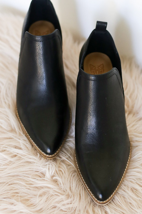 Close Up of the V-Cut Faux Leather Ankle Booties in Black