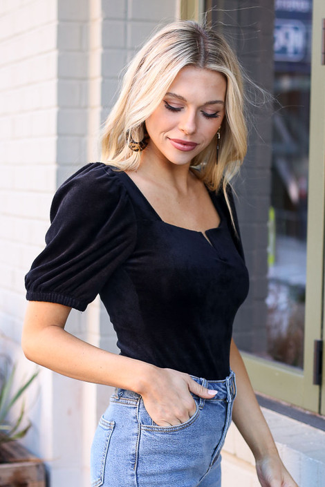 Notched Square Neck Top in Black Side View