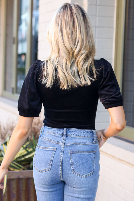 Notched Square Neck Top in Black Back View