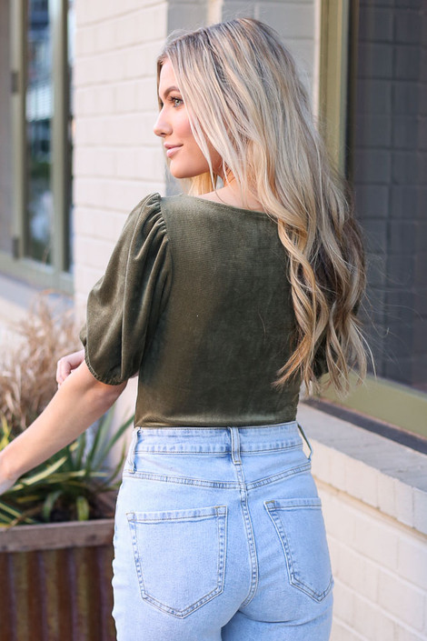 Notched Square Neck Top in Green Back View