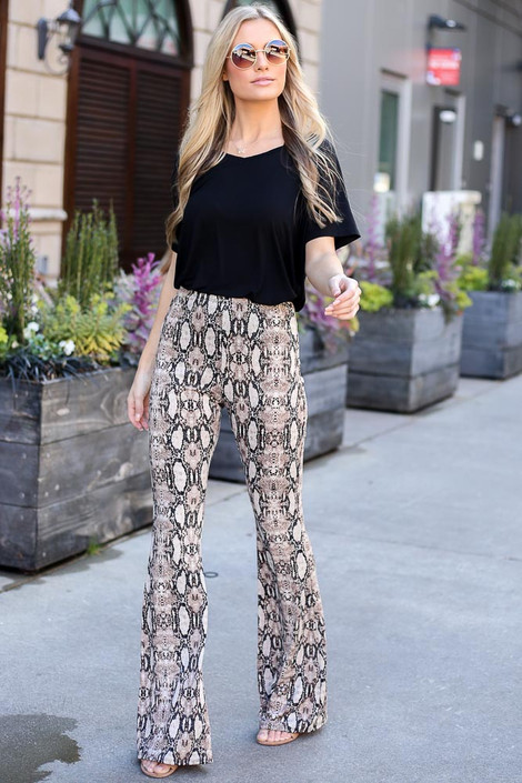 Snake - Snakeskin Stretch Knit Flare Pants