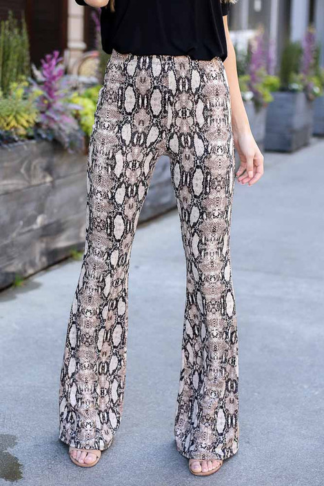 Snake - Close Up of the Snakeskin Stretch Knit Flare Pants