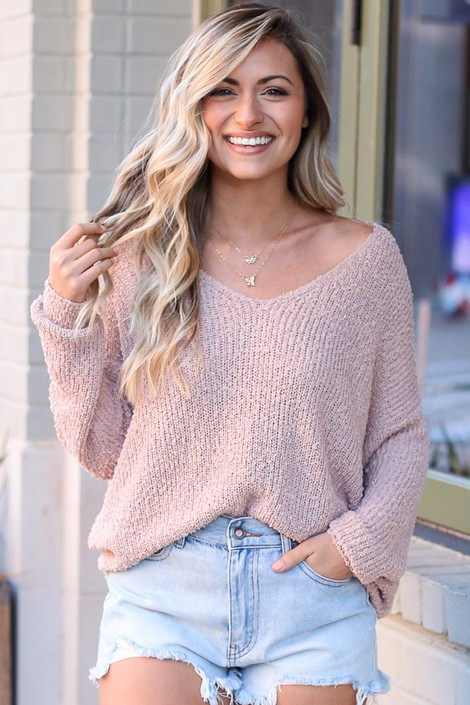 Blush - Lightweight Twist Back Sweater