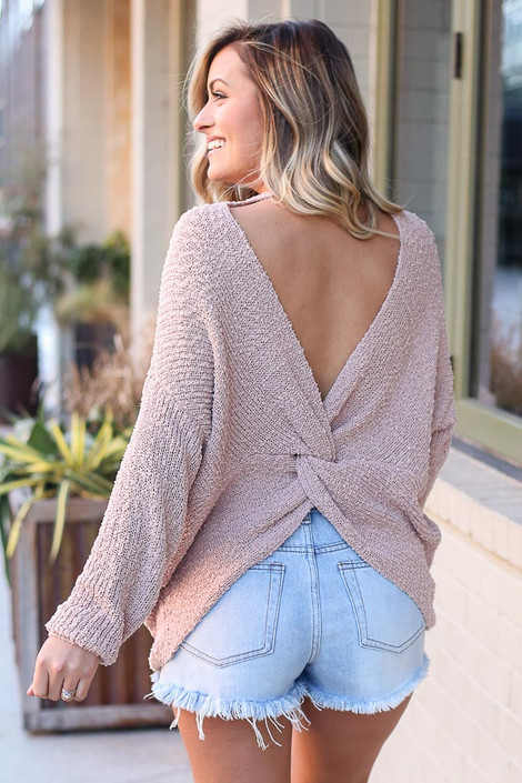 Blush - Lightweight Twist Back Sweater Back View