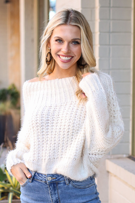 Ivory - Cropped Eyelash Knit Top from Dress Up