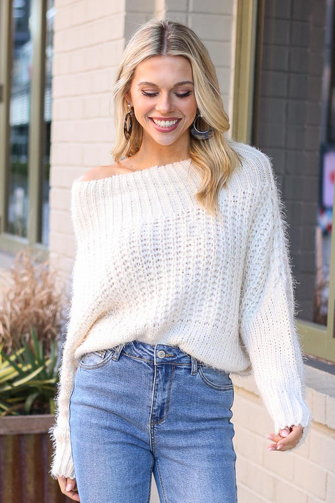 Ivory - Model wearing the Cropped Eyelash Knit Top