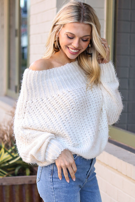 Cropped Eyelash Knit Top in Ivory Side View
