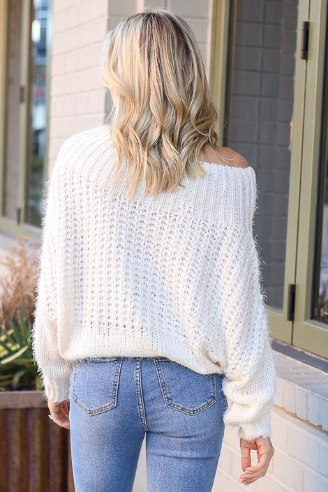 Cropped Eyelash Knit Top in Ivory Back View