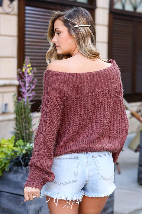 Cropped Eyelash Knit Top in Marsala Back View