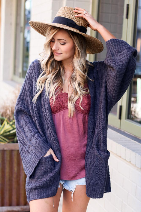 Charcoal - Oversized Lightweight Knit Cardigan