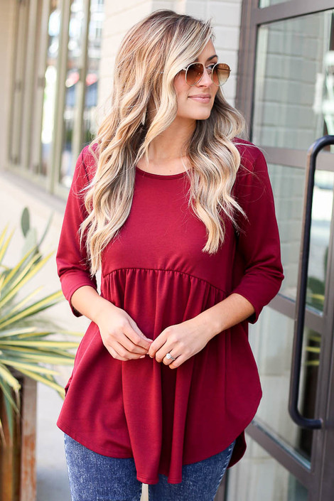 Burgundy - French Terry Babydoll Tunic