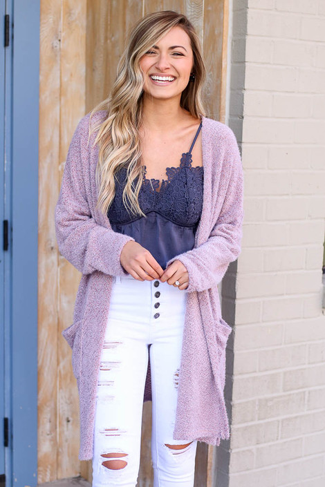 Lavender - Fuzzy Knit Cardigan from Dress Up