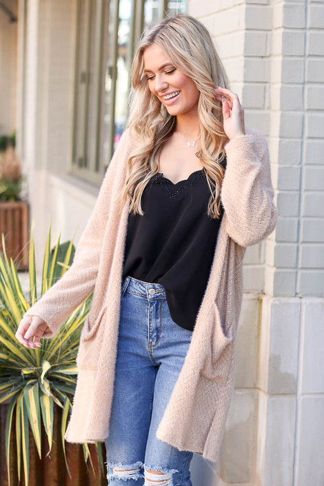 Model wearing the Taupe Fuzzy Knit Cardigan front view