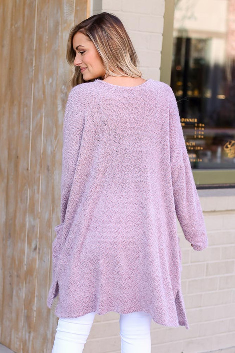 Model wearing the Blush Fuzzy Knit Cardigan Back View