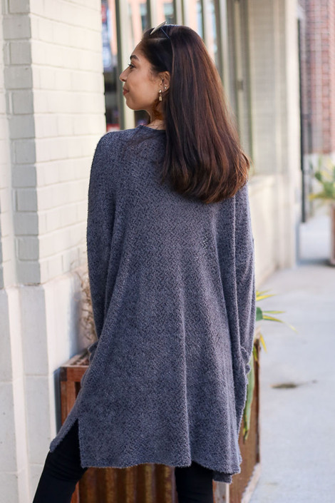 Model wearing the Charcoal Fuzzy Knit Cardigan back view
