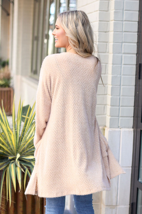 Model wearing the Taupe Fuzzy Knit Cardigan back view