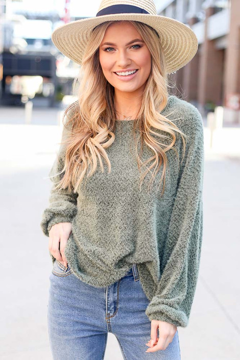 Olive - Fuzzy Knit Sweater