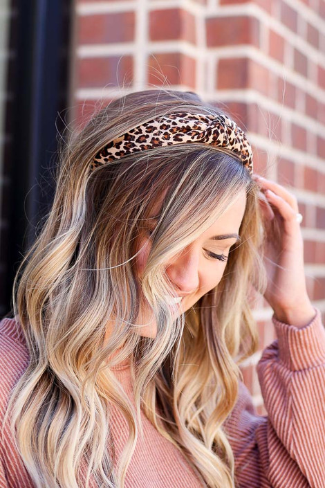 Model wearing the Leopard Print Knotted Headband