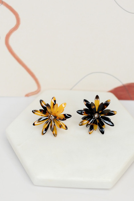 Tortoise - Flower Stud Earrings from Dress Up Boutique