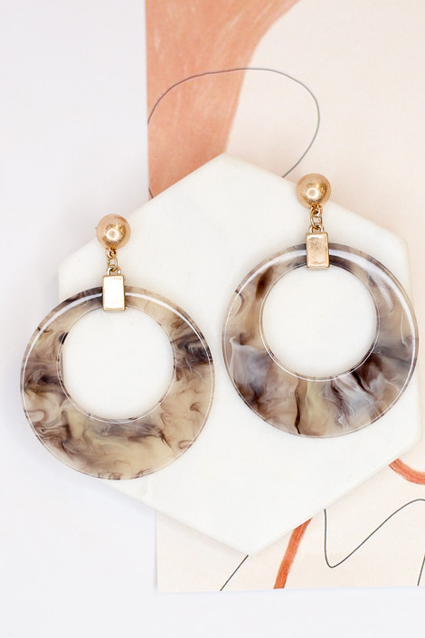 Grey - Acrylic Statement Earrings