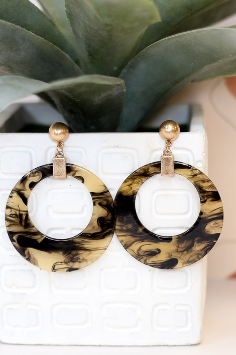Black - Acrylic Statement Earrings from online dress boutique