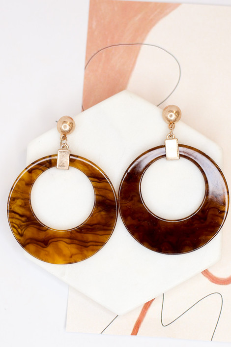 Brown - Acrylic Statement Earrings from Dress Up Boutique