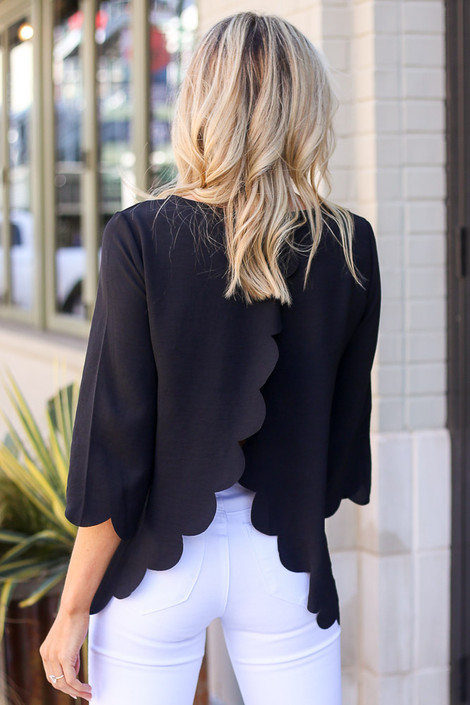 Black - Scalloped Open Back Blouse from Dress Up