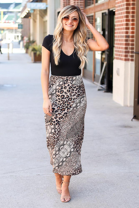 Taupe - Leopard + Snakeskin Midi Skirt from Dress Up