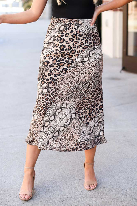 Model wearing the Leopard + Snakeskin Midi Skirt Close Up View