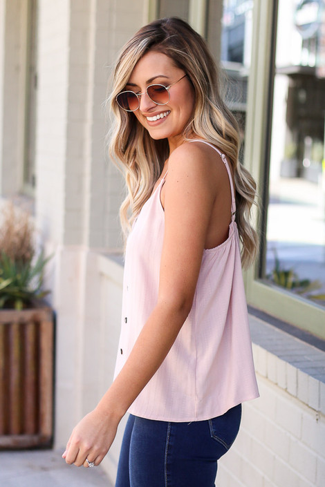 Textured Button Up Tank Side View