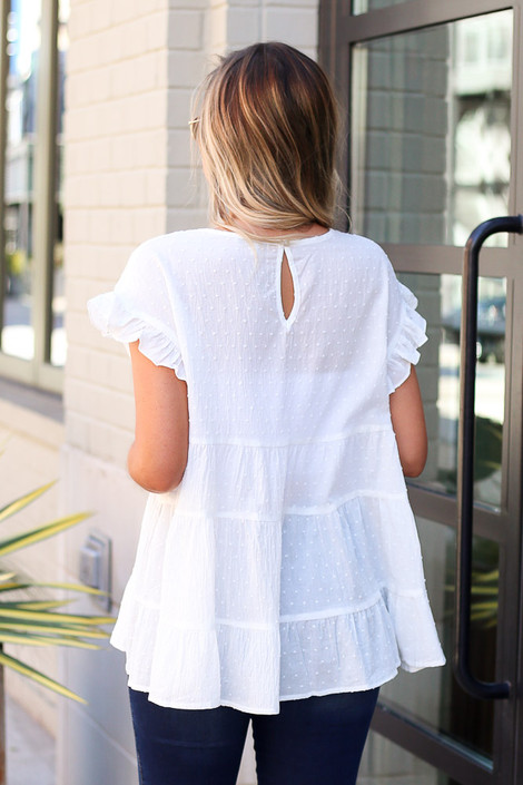 Model wearing the Swiss Dot Tiered Top in White Back View