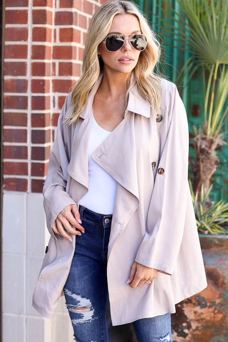 Taupe - Lightweight Trench Coat